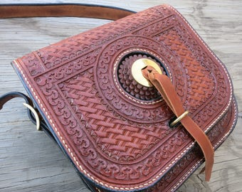 Leather Saddlebag Purse..... Handtooled, Handstitched, Made From Saddle leather.