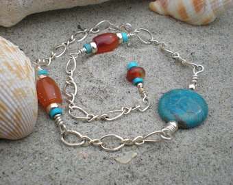 Dancing on the sands ankle bracelet, blue jasper, sterling silver, turquoise, carnelian, OOAK, unique jewelry by Grey Girl Designs on Etsy