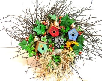 Twig Wreath With Birds And Birdhouses