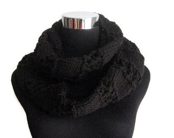 Black Lace Striped Knit Infinity Scarf, Black Knit Circle Scarf, The Stacey Scarf, Vegan Knit Scarf, Womens Accessories, Cowl Scarf
