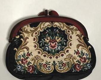Vintage Lucite Embroidered Clutch