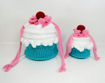 Cupcake Purse Crochet Pattern - Cupcake Purse in Two Sizes Crochet Pattern #503 - Instant Download PDF