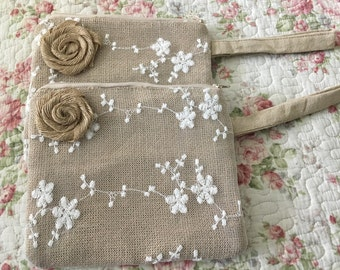 1pc Bridesmaids  Burlap Lace clutch bridesmaid gift , burlap lace clutch bag,Natural Burlap Cosmetic Bags, Makeup Bags