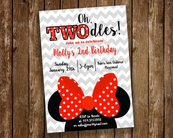Minnie Mouse Birthday Party Invitation, TWOdles, 2nd Birthday, Red Minnie - Digital or Printed