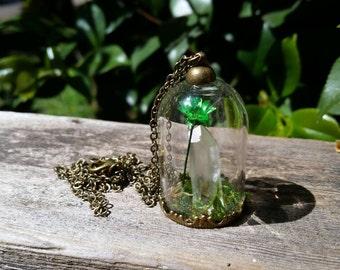 Green flower and quartz crystal terrarium necklace