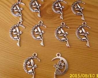 "set of 10 charm/pendant ""Moon - Angel"" 25X15mm antique silver"