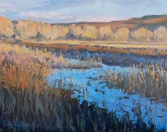 Bosque Afternoon Edge of the South Field - Bosque del Apache - New Mexico - Original Oil Landscape Painting