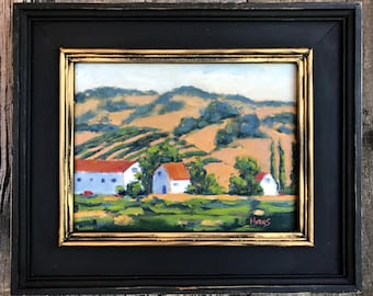 California Plein Air Landscape Oil Painting Original Wall Art San Francisco Bay Area Backroad Vines Suisun Valley California Artist Artwork
