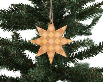 Stern   Holz Ornament   Urlaub Dekoration   Stern   Urlaub Ornament   Christmas Ornament   Wohnkultur   Karierte   Hergestellt in Maine