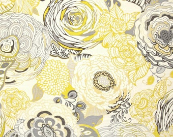 Two 26 x 26  Designer Decorative Pillow Covers Euro Shams - Large Floral - Yellow/Grey