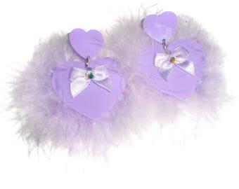Fluffy Heart Earrings ~ Lilac or Mint