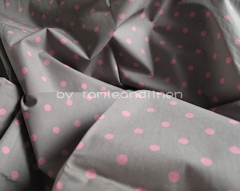 """pink polka dot cotton fabric, quilting fabric, patchwork fabric, half meter by 44"""" wide,remnant, last piece"""