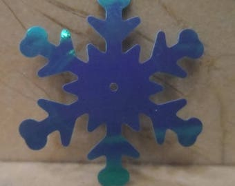 set of 100 snowflake appliques plastic 40 mm