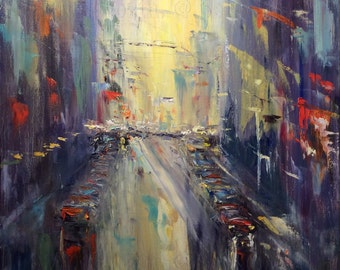 """City Lights Abstract City Painting Original Oil Painting 30 x 24"""""""
