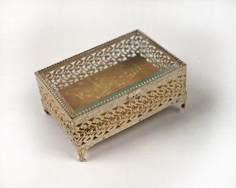 Antique French Victorian Jewellery Box, Rare Vintage Lace Bronze Jewelry Box, White Gold Matson Filigree Ormolu Casket Beveled Glass