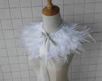 Unique hackle feather capelet #FC16007