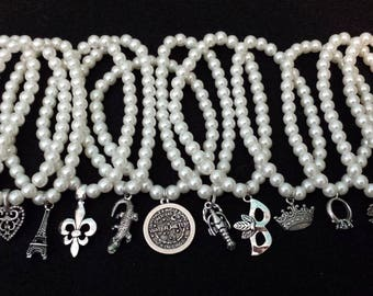 FREE SHIPPING Ten Glass Pearl Wedding Cake Pulls with New Orleans and Traditional charms