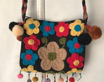 Boho Bag Bohemain Hippie Bag Floral Bag Shoulder Bag Floral Purse Festival Bag Hippie Purse Small Shoulder Bag Multicolour Cross Body Bag
