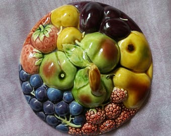 Large French Digoin Majolica Sarraguemines fruit basket tureen, vintage