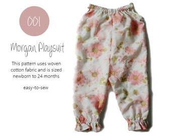 001 Morgan Playsuit- PDF Sewing Pattern - Baby Kid Cotten Sleeveless Summer Spring Girl Newborn- 2T