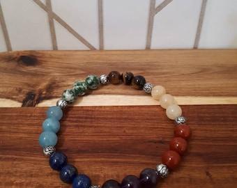 Reiki bracelet, chakra beads, large bracelet, energy, to fit large wrist, root, sacral, solar plexus, heart, throat, 3rd eye, crown chakra