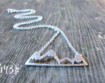 Sterling Silver Mountain Range Necklace,Outdoor Lovers, Hikers, Skiers, Camping, Snow Mountain Lover 925 Necklace,Ski Gift, Gift for Her