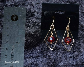 Wire Wrapped Red Glass Bead Triangle Dangle Earrings