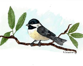 """An Original Watercolor Painting of a Black Capped Chickadee Bird -  Massachusetts and Maine State Bird  6"""" x 9"""""""