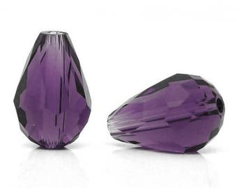 Drop faceted glass purple AMETHSTE 11x8mm beads 10 x