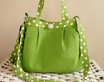 Bridesmaid Gift  Handbag  Lime Green And White Polka Dots with Pearl / Small/ Shoulder Bag / Cross body bag with adjustable strap