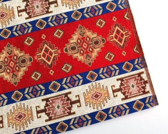 Ethnic Tribal Style Upholstery Fabric, Aztec Navajo Fabric, Geometric Design Kilim Fabric, Red-Blue-White, by the Yard/Metre, Ycp-020