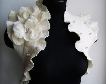 Bridal Shrug Bolero Felt Jacket Ivory Wedding, Two Roses Brooch, TianaCHE Cashmere Merino