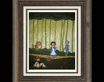 Wizard of Oz Art  Whimsical Folk Art Fairytale 8x10 Print -- If We Walk Far Enough