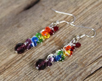 Dangle Rainbow Earrings, Swarovski Crystal, Chain, Cascading, Gifts For Her, Rainbow Gifts