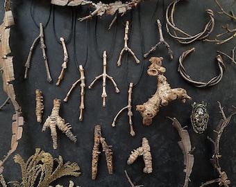 Bronze Twig Pendant, Garden Jewelry, Woodland Jewelry, Made by Jamie Spinello