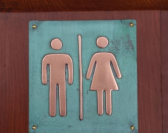 """Unisex toilet lavatory sign Plaque 4.5""""""""/115mm square in polished and patinated copper sheet with fixings g"""