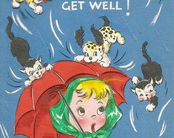 Vintage get well card little girl raining cats and dogs digital download printable instant image