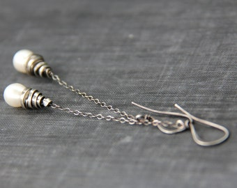 Long dangle wire wrapped chain and tear drop pearl earrings in copper or sterling silver. Boho, organic, elegant earrings, special occasion