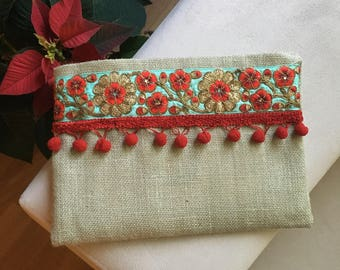 Floral embroidered boho clutch