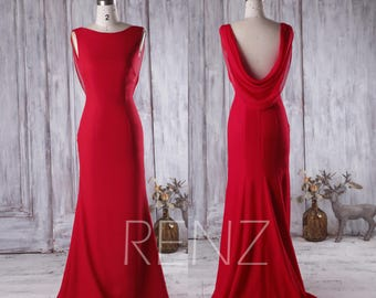 Red Bridesmaid Dress with Train, Cowl Back Wedding Dress, Bateau Neck Bodycon Prom Dress, Long Chiffon Evening Gown Floor Length (H281)