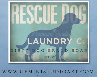 Rescue Dog laundry company laundry room artwork artists print by stephen fowler geministudio Pick A Size
