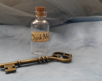 Drink Me Alice In Wonderland Style Glass Bottle with Key Wedding Party