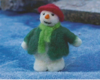 Snowman needle felting kit for beginners - super easy!