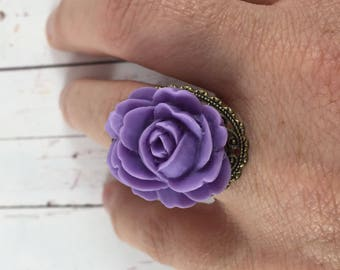 Purple Lavender Rose Flower Statement Ring with Antique Gold Ring Base // Romantic Adjustable Fashion Ring // Gifts for Her