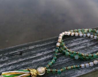 Green Aventurine and Quartz Mala Meditation Necklace