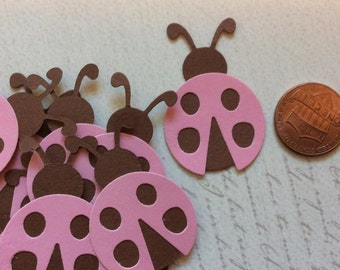 SET of 15 Pink and Brown Ladybug Die cuts punches cardstock 1 inch -Scrapbook, cards, embellishment, confetti