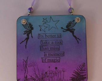 Fairy wall hanging, mini wall hanging, inspirational quote, fairy art, fairy lover, fantasy wall hanging, boho chic, bohemian.