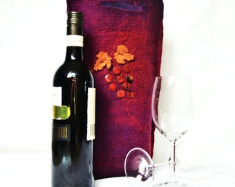 Wine Bag Felt Burgundy Purple and Rust  Hand Beaded