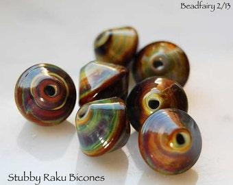 7 Stubby Raku Bicones Handmade lampwork beads , glass beads by Beadfairy Lampwork SRA