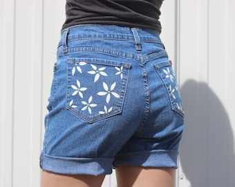 Daisy Flower Jeans - Handpainted - Size 10